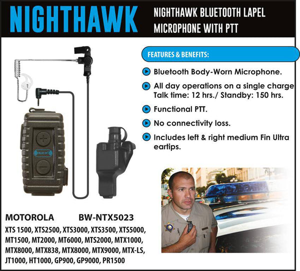 BlueWi BW-NTX5023 Nighthawk Bluetooth Lapel Microphone for Motorola XTS - Earphone Guy LLC