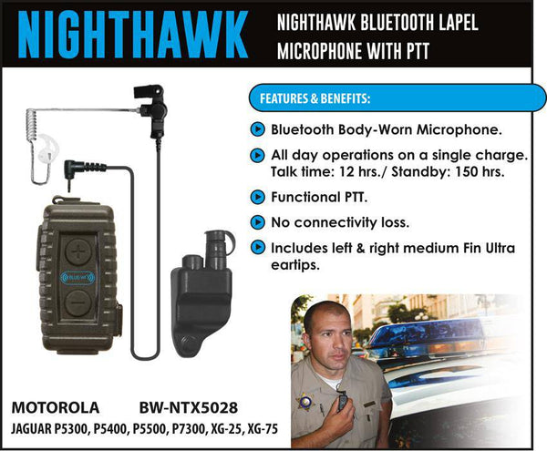 BlueWi BW-NTX5028 Nighthawk Bluetooth Lapel Microphone for MA/Com-Harris - The Earphone Guy