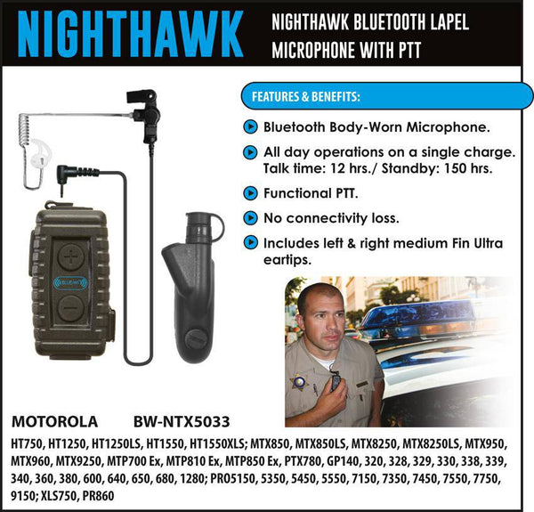 BlueWi BW-NTX5033 Nighthawk Bluetooth Lapel Microphone for Motorola HT - Earphone Guy LLC