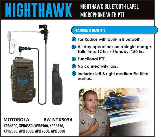 BlueWi BW-NTX5034 Nighthawk Bluetooth Lapel Microphone for Motorola TRBO - Earphone Guy LLC