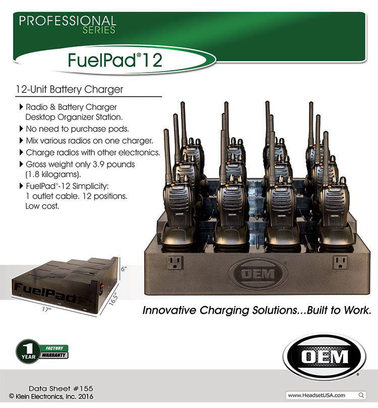 FuelPad12™ 12-Unit Battery Charger Organizer fits Blackbox Bantam - The Earphone Guy