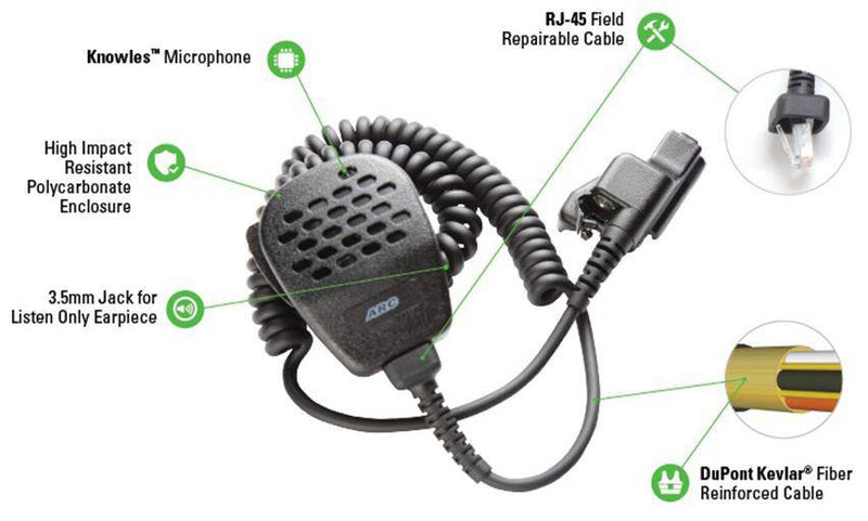 ARC S11035 Heavy Duty Speaker Microphone fit Motorola HT Series - The Earphone Guy