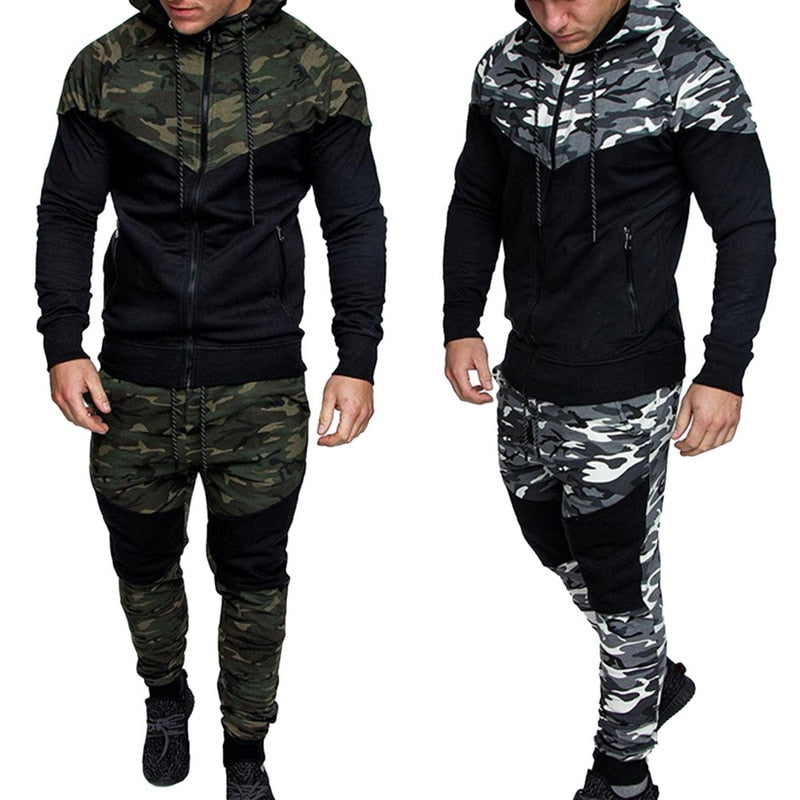 Laamei Men Causal Camouflage Print sets Camo Jacket+Pants 2Pc Tracksuit Sportwear jogger Hoodies Sweatshirt &Pant Suit Plus Size