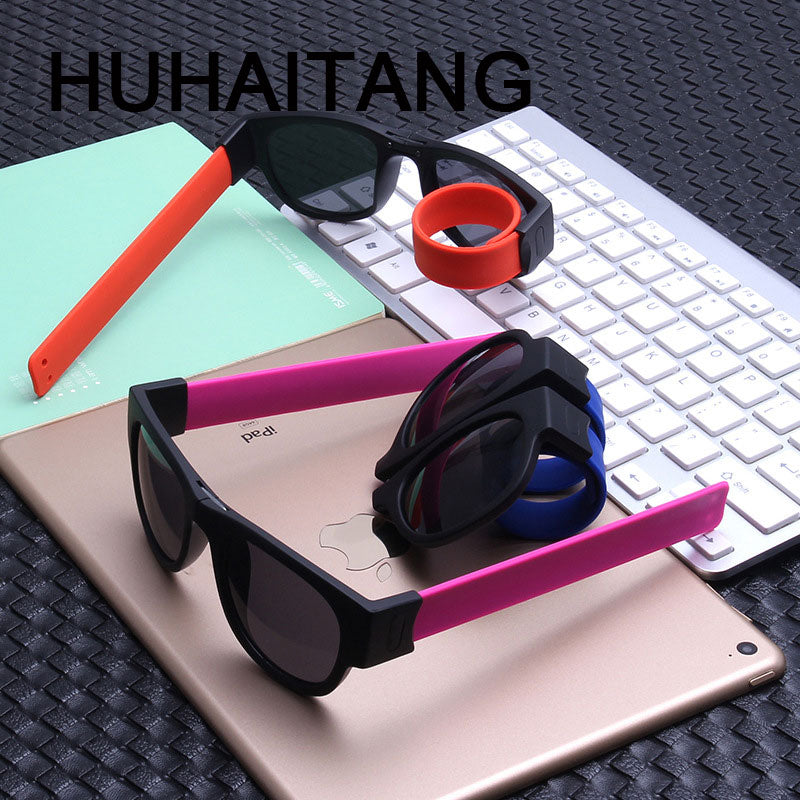 HUHAITANG Slap Polarized Sunglasses Women Slappable Bracelet Sun Glasses For Men Luxury Wristband Festival Folding Sunglass Lady