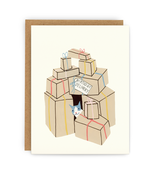 Birthday greeting card and kraft envelope featuring cat and boxes