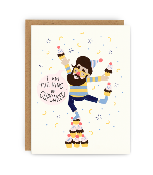 birthday greeting card and kraft envelope featuring boy dancing with cupcakes