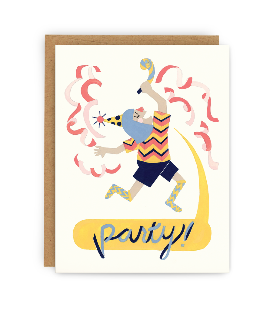 birthday greeting card and kraft envelope featuring dancing girl saying 'party!'