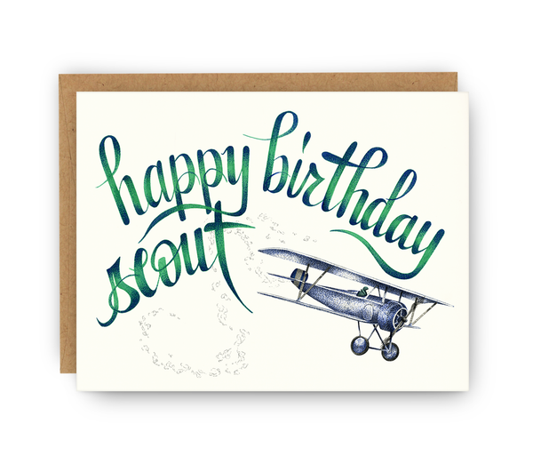 birthday greeting card and kraft envelope featuring airplane and typography