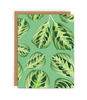 single greeting card with kraft envelope featuring plant pattern