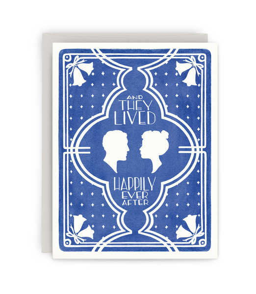 straight wedding greeting card with grey envelope featuring a couple's silhouettes and 'happily ever after' typography
