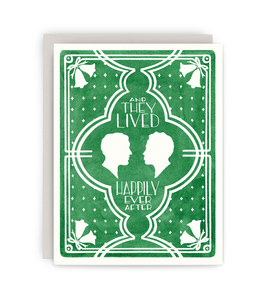 gay wedding greeting card with grey envelope featuring two men silhouettes and 'happily ever after' typography