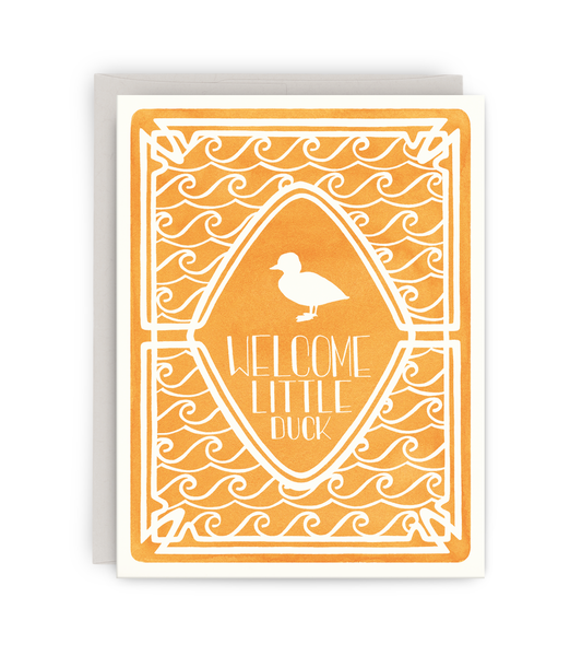 new baby congratulations greeting card with grey envelope featuring silhouetted duck in water design with typography