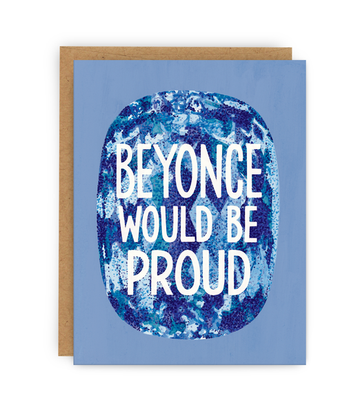 greeting card with kraft envelope featuring blue gem with typography