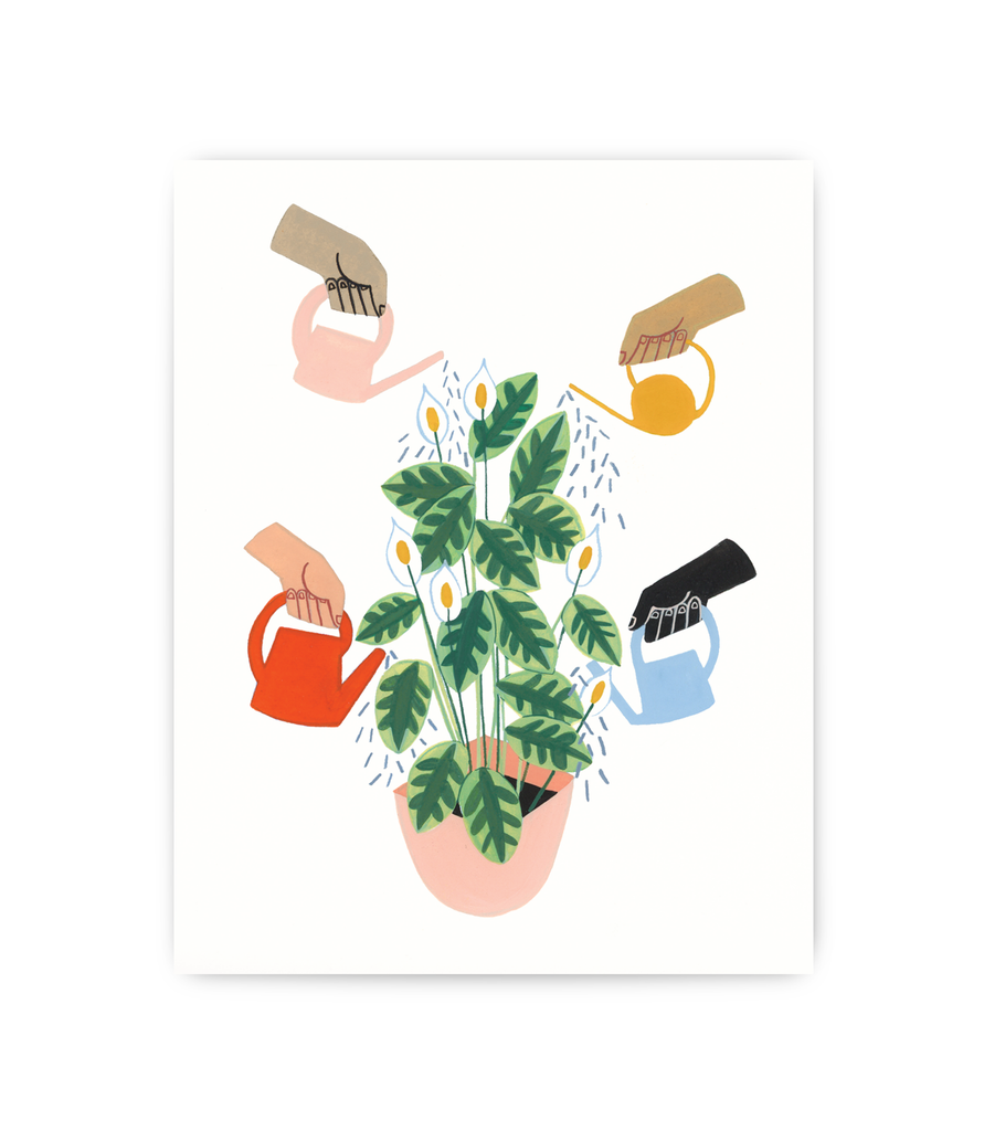 art print featuring different hands watering the same plant