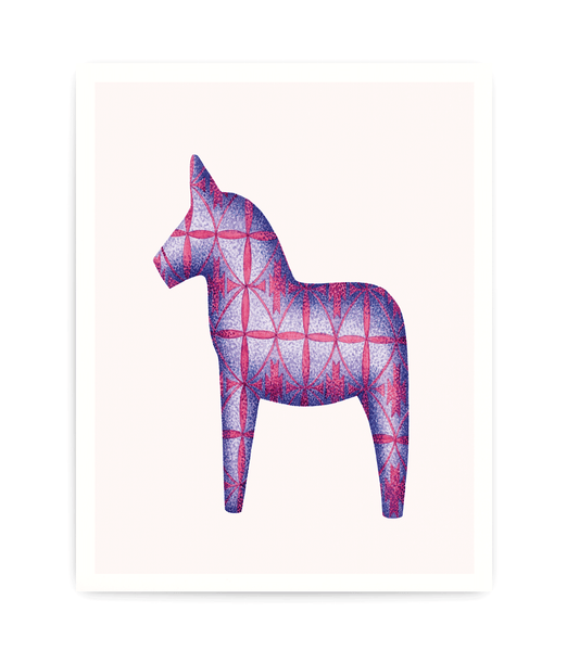 art print of purple dala horse covered in modern danish pattern