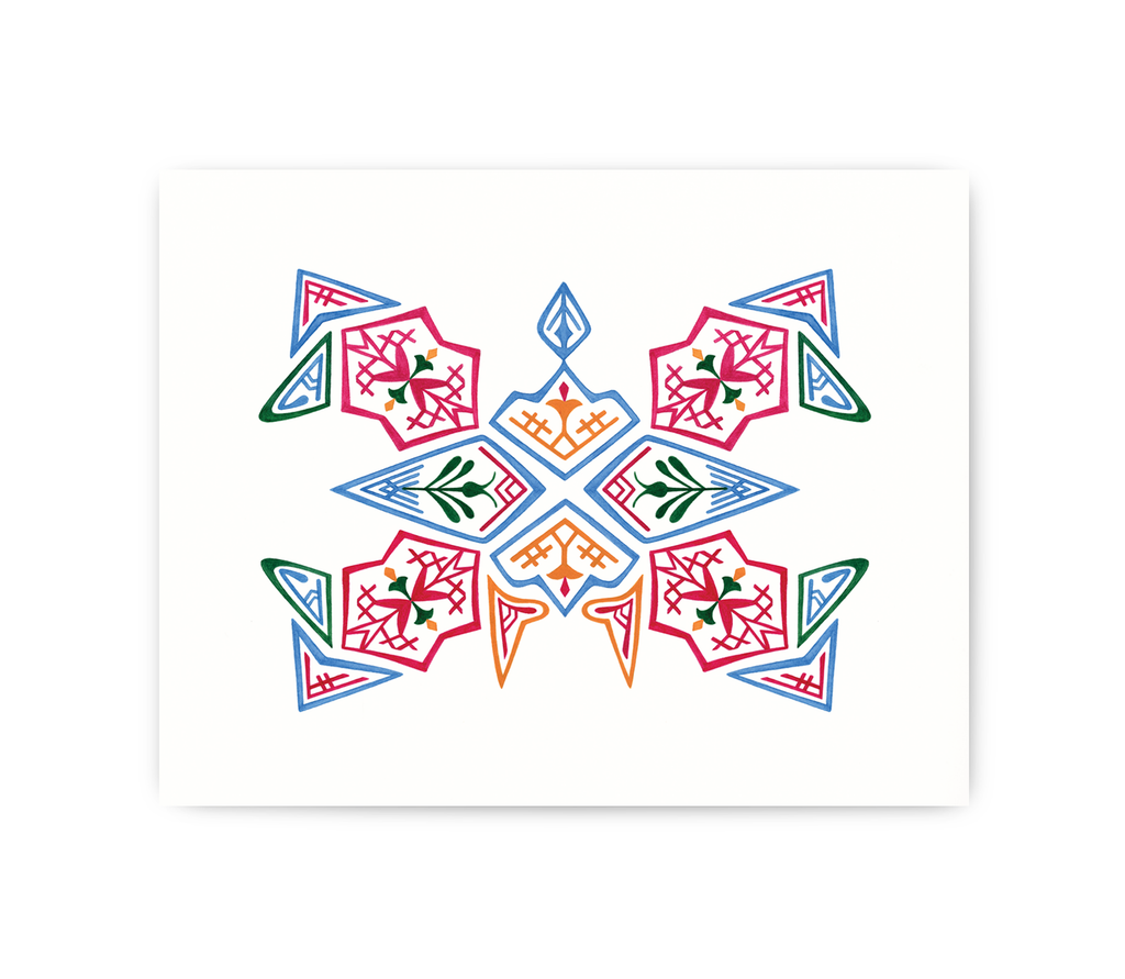 art print of square modern danish pattern design