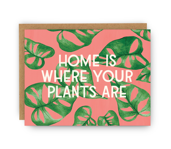 greeting card with kraft envelope featuring plant pattern typography