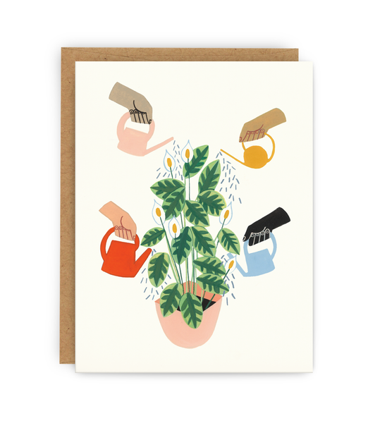 sympathy and support greeting card with kraft envelope featuring many hands watering the same plant