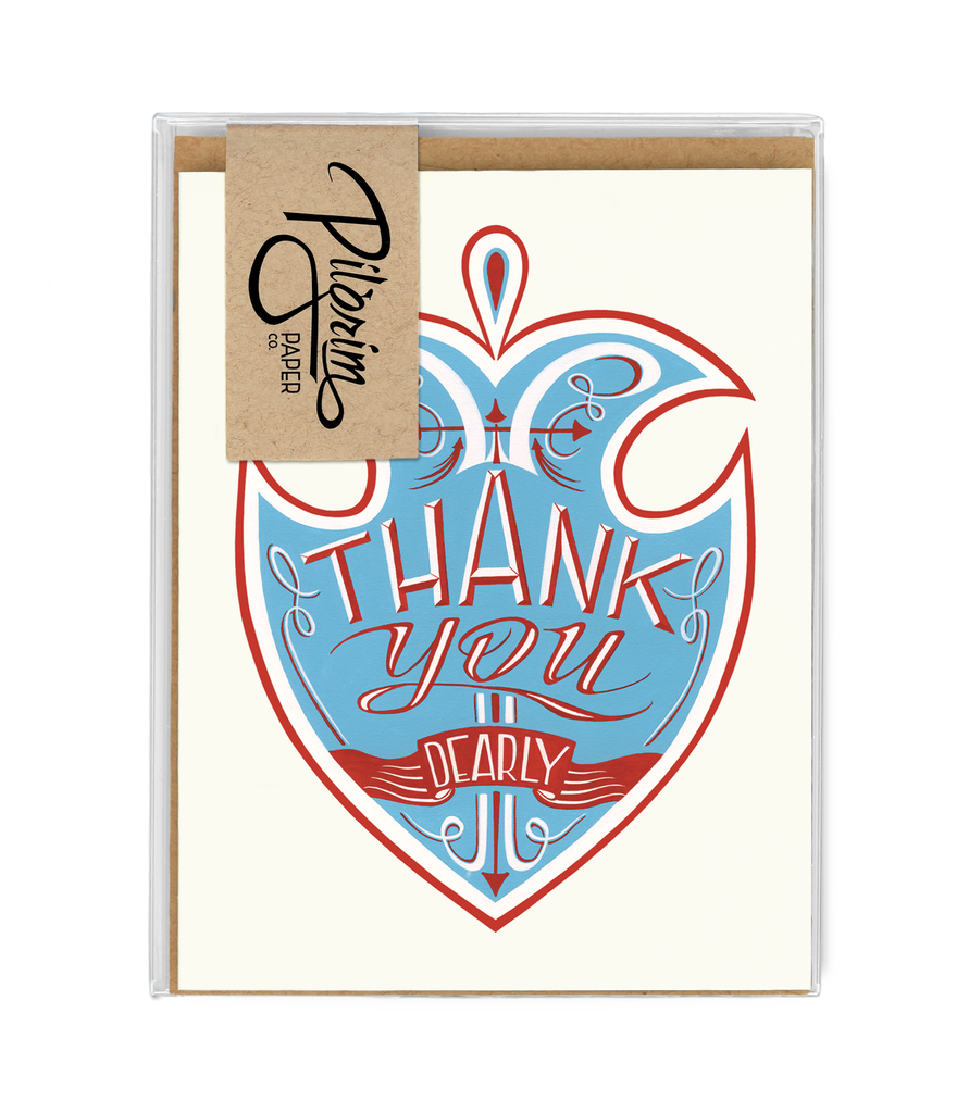 thank you card set, greeting cards and kraft envelopes, two designs four of each