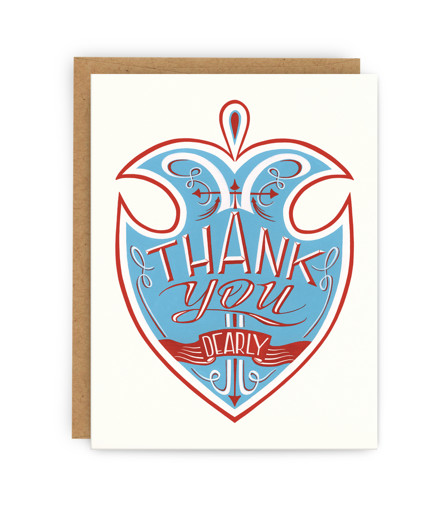 Thank you greeting card with kraft envelope featuring illustrated badge and typography