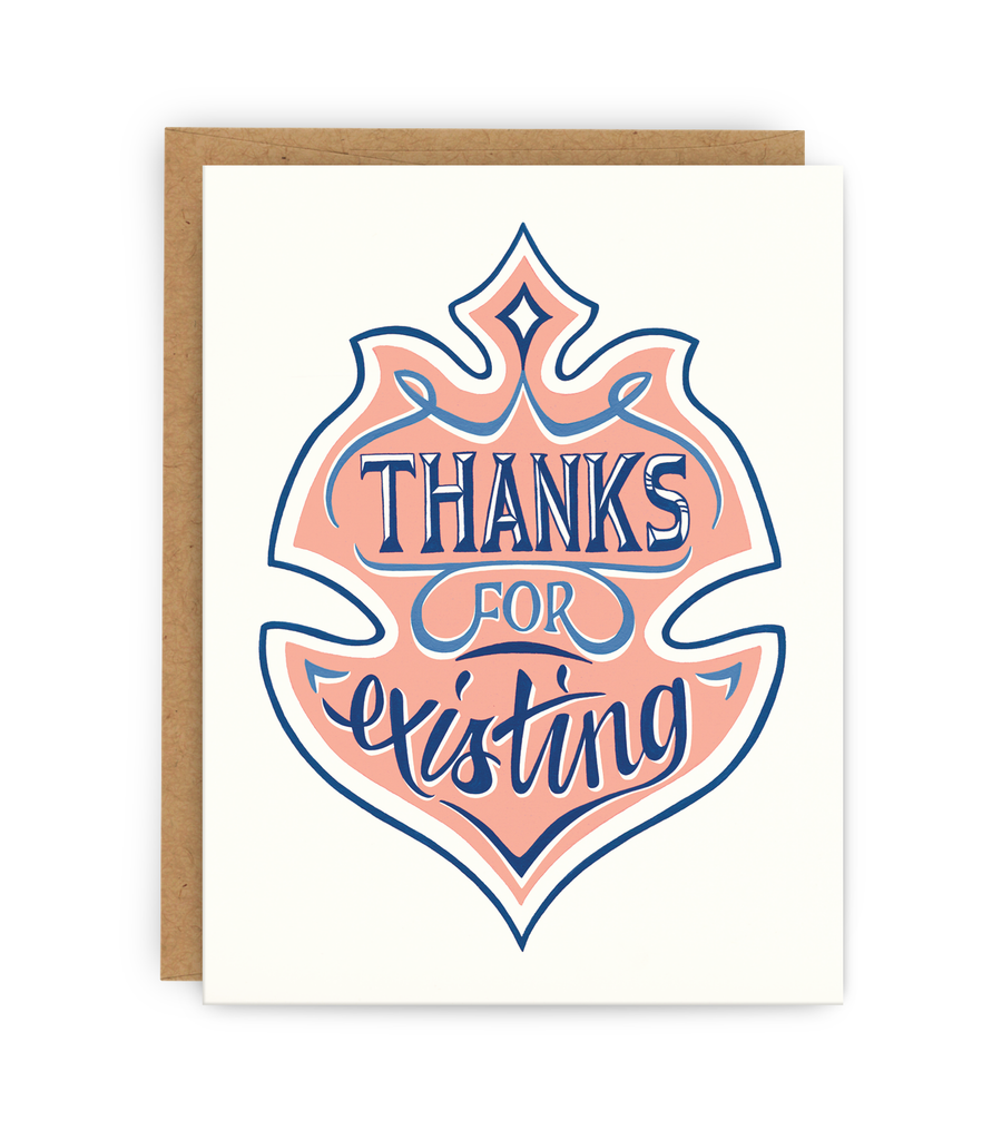 Thank you greeting card and kraft envelope featuring illustrated badge and typography