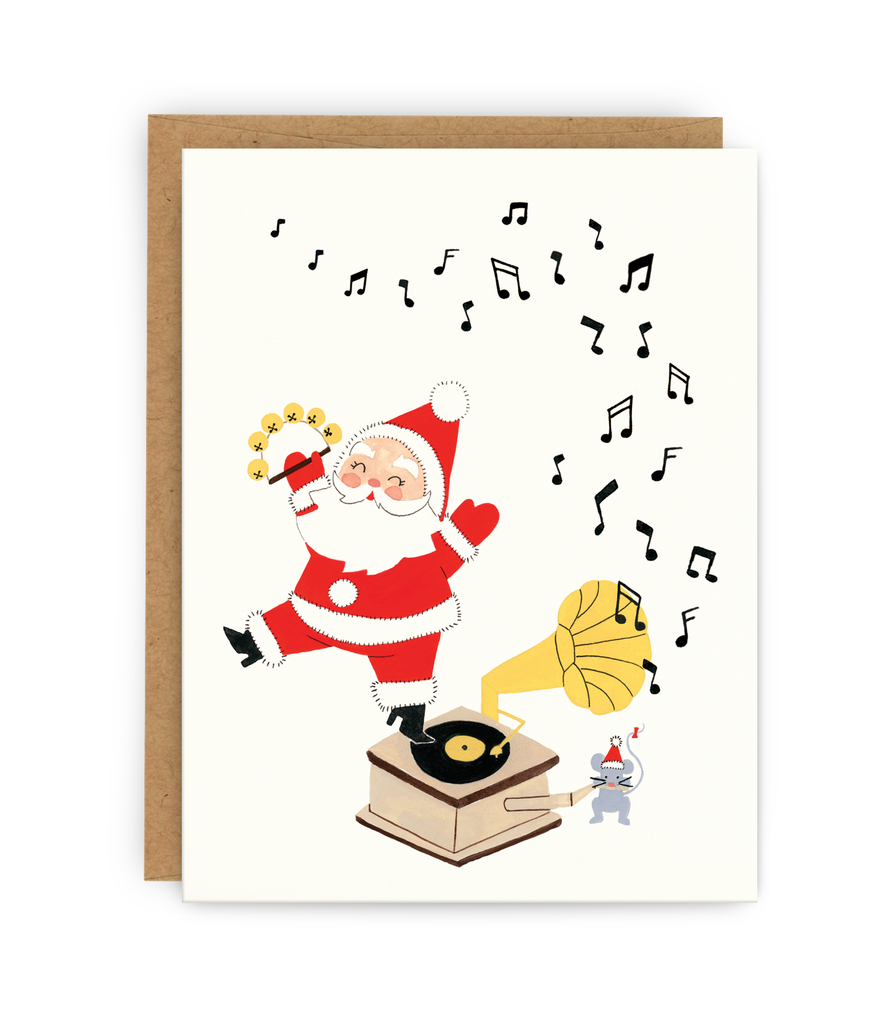 christmas greeting card and kraft envelope featuring santa dancing on record player