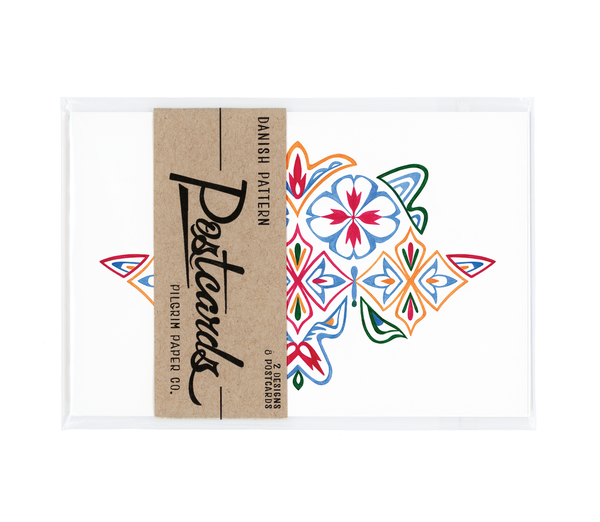 "Danish pattern postcard set package featuring eight 4x6"" postcards"