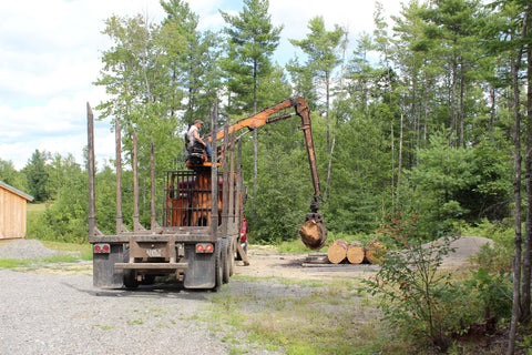Offloading Maple Logs for Shaker Boxes, LeHay's Shaker Boxes