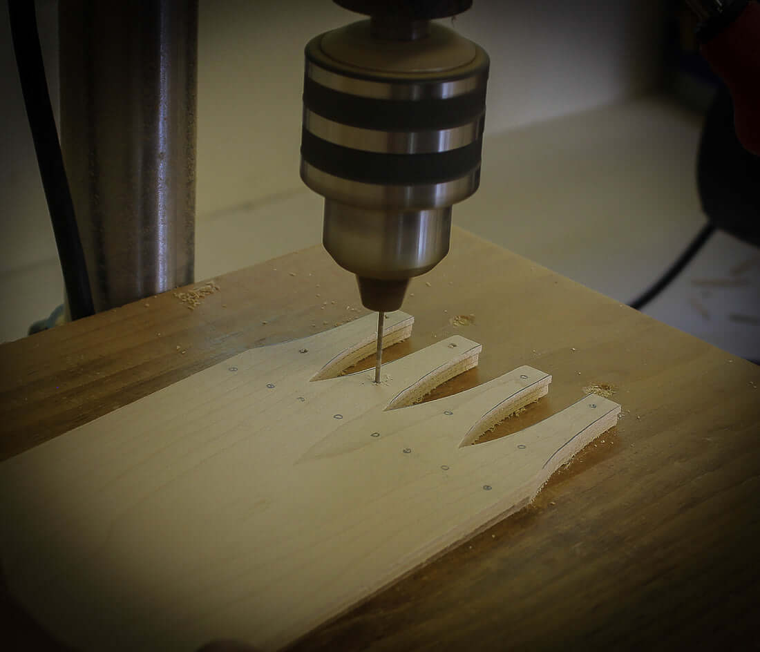 Drilling Tack Holes for Shaker Oval Boxes and Needlework Boxes.  LeHay's Shaker Boxes.