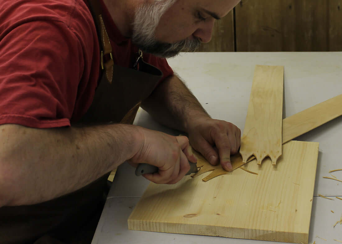 Trimming Swallowtail Joints for Shaker Oval Boxes and Needlework Boxes.  LeHay's Shaker Boxes.