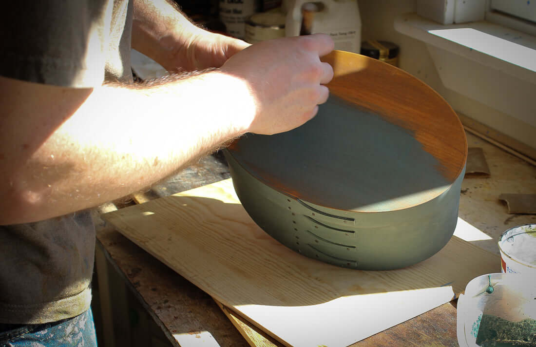 Applying Milk Paint to Shaker Oval Boxes and Needlework Boxes.  LeHay's Shaker Boxes.