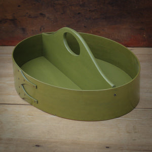 Green Milk Paint Finish.  Shaker Carrier handcrafted in Maine by LeHay's Shaker Boxes.
