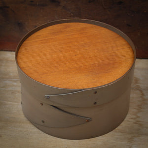 Grey Milk Paint Finish.  Shaker Needlework Box made in Maine by LeHay's Shaker Boxes.