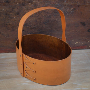 Pumpkin Milk Paint Finish.  Shaker Carrier handcrafted in Maine by LeHay's Shaker Boxes.
