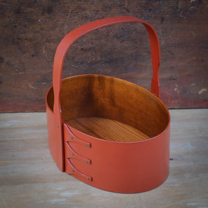 Red Milk Paint Finish.  Shaker Carrier handcrafted in Maine by LeHay's Shaker Boxes.