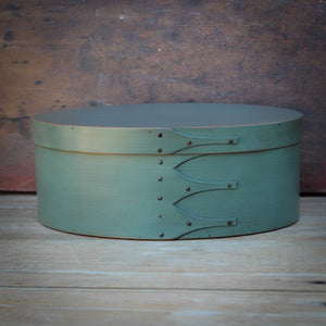 Sea Green Milk Paint Finish.  Shaker Oval Box handcrafted in Maine by LeHay's Shaker Boxes.
