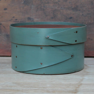 Sea Green Milk Paint Finish.  Shaker Needlework Box made in Maine by LeHay's Shaker Boxes.