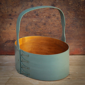 Sea Green Milk Paint Finish.  Shaker Carrier handcrafted in Maine by LeHay's Shaker Boxes.
