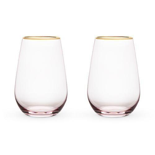 Southern Napa Fine Wine House Wine Glasses Rosè  Crystal Stemless Wine Glass Set