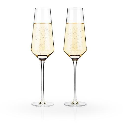 Viski Wine Glasses Crystal Champagne Flutes (Set of 2)
