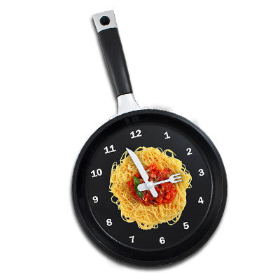 MI-1919AN  FRYING PAN CLOCK WITH SPAGHETTI GRAPHIC