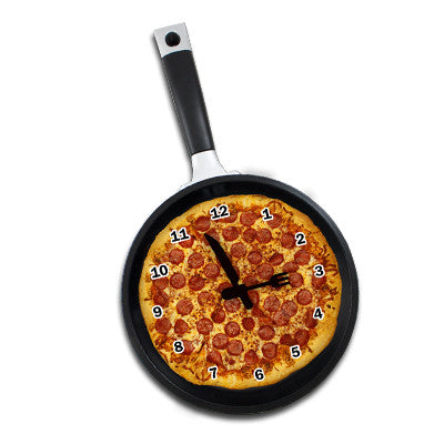 MI-1919AP  FRYING PAN CLOCK WITH PIZZA GRAPHIC