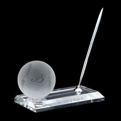 C-105 BA  CRYSTAL BASEBALL PEN STAND SET