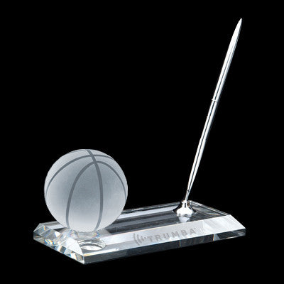 C-105 BK  CRYSTAL BASKETBALL PEN STAND SET