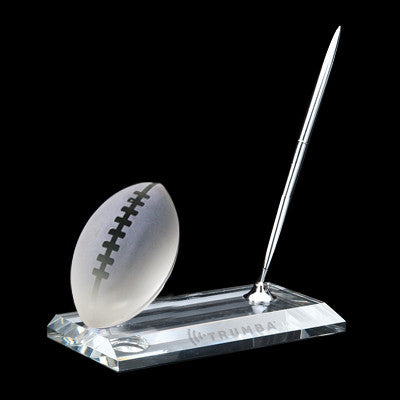C-105FO  CRYSTAL FOOTBALL PEN STAND SET