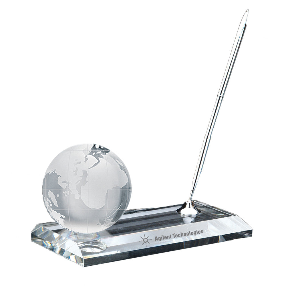 C-105  CRYSTAL GLOBE PEN STAND SET