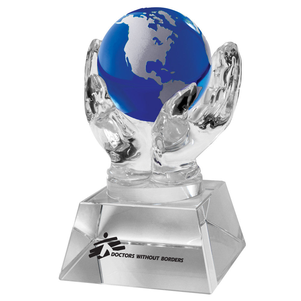 C-1392B  CRYSTAL HANDS HOLDING GLOBE (BLUE)