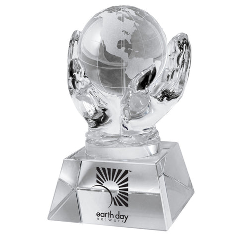 C-1392C  CRYSTAL HANDS HOLDING GLOBE (CLEAR)