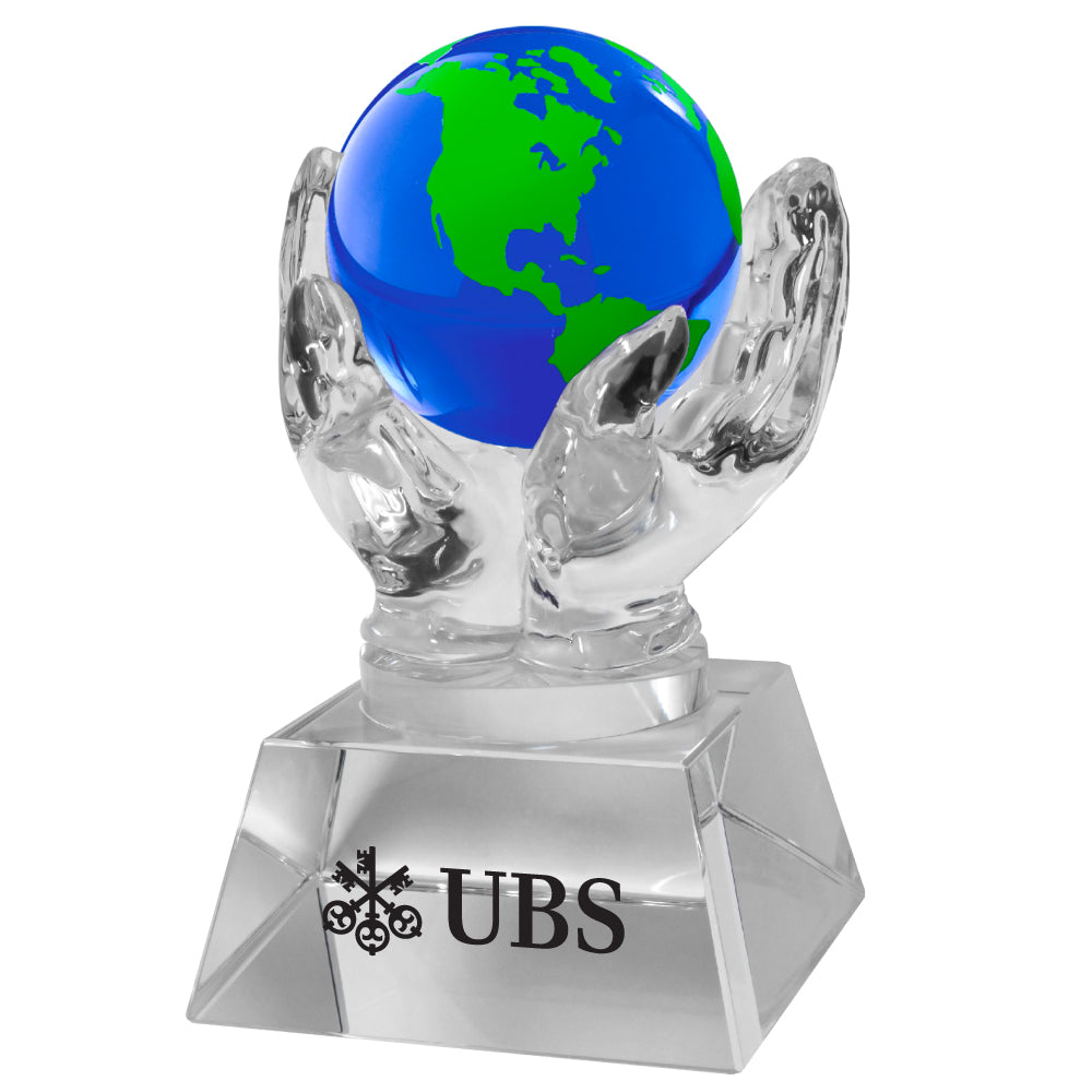 C-1392G  CRYSTAL HANDS HOLDING GLOBE (BLUE/GREEN)