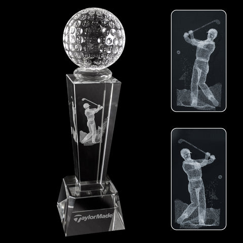 C-196GO  3-D CRYSTAL SPORTS TROPHY-GOLF
